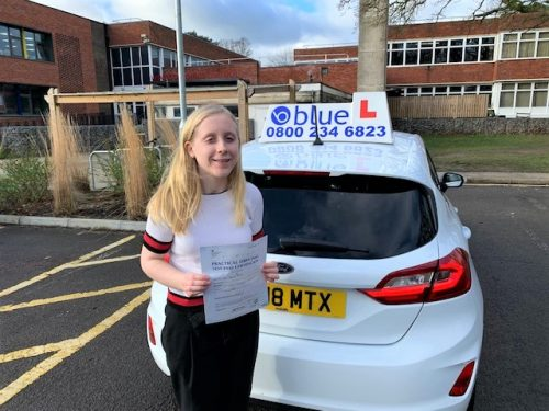 Anna Foskett of Windsor passed her driving test in Slough