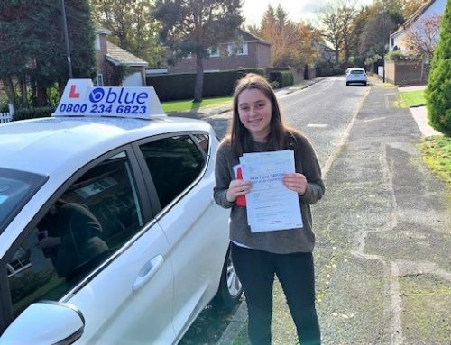 Charlotte Gayton of Windsor who passed her driving test in Slough