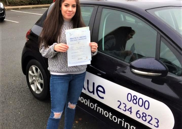 Carrie Lewis from Yateley passed driving test Farnborough in Hampshire