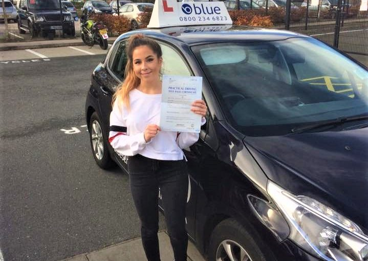Heather Lewis from Yateley passed her driving test in Farnborough