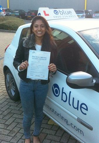 Alysha Ali of Ascot, Berkshire - Blue Driving School